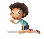 Boy kneeling Stock Photo