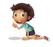 Boy kneeling. Illustration of a young boy kneeling on the floor Stock Photo