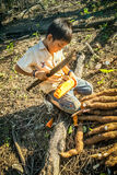 Boy with knife in Bolivia Royalty Free Stock Photos