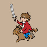 Boy knight riding hose cartoon Royalty Free Stock Image