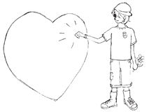 A boy knock knock a heart drawing Royalty Free Stock Photos