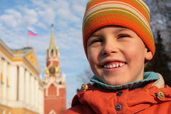 Boy and Kremlin Royalty Free Stock Photos