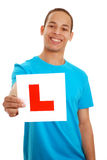 Boy with L plate royalty free stock image