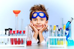 Boy in laboratory Royalty Free Stock Photo