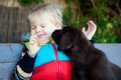 A boy with Labrador puppy Stock Photo