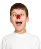 Boy with ladybug on face, teenager fun portrait closeup Stock Photos
