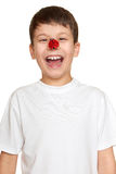 Boy with ladybug on face, teenager fun portrait closeup Royalty Free Stock Image