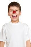 Boy with ladybug on face, teenager fun portrait closeup Royalty Free Stock Image