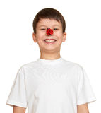 Boy with ladybug on nose make faces, teenager fun portrait closeup Royalty Free Stock Photography
