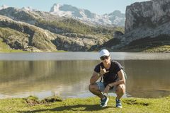 Boy in the lakes of covadonga, Asturias, Spain Royalty Free Stock Photography