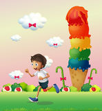 A boy in a land full of sweets Royalty Free Stock Photography