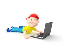 Boy and laptop Royalty Free Stock Photos