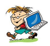The boy with the laptop Royalty Free Stock Photography