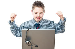 Boy and laptop Royalty Free Stock Images