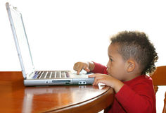 Boy and laptop Stock Photography