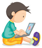 A boy and laptop Stock Photo