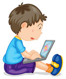 A boy and laptop Royalty Free Stock Photography