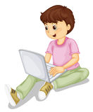 A boy and laptop Stock Photography