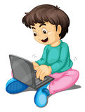 A boy and laptop Royalty Free Stock Photo