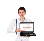 Boy with laptop Royalty Free Stock Photography