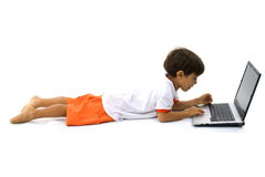 Boy and Laptop Royalty Free Stock Image