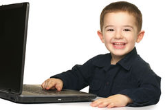 Boy and Laptop Stock Photo