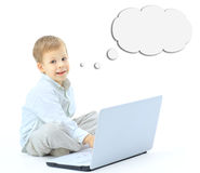 Boy with laptop isolated on white background Royalty Free Stock Photos