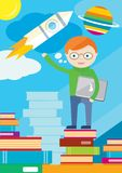 Boy with laptop stands on books and shows rocket stock illustration
