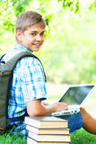 Boy with laptop Royalty Free Stock Photo