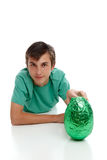 Boy with a large easter egg Stock Image