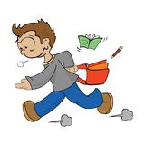 Boy late for school. Cartoon drawing of a boy late for school royalty free illustration