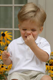 Boy laughing. Boy holding flower laughing royalty free stock photography