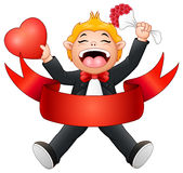 Boy laughing with flower in hand and heart for valentine`s day. Illustration of Boy laughing with flower in hand and heart for valentine`s day Stock Photography