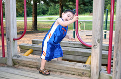 Boy Laughing And Playing At The Park royalty free stock images