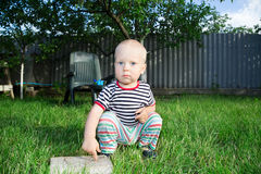 Boy on lawn Stock Image