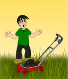 Boy with Lawn Mower Royalty Free Stock Photos