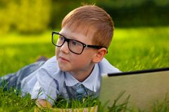 Boy laying on grass in the park with laptop Stock Photos