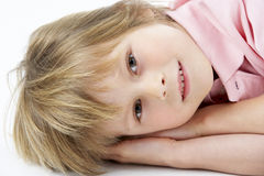 Boy Laying on his Side Royalty Free Stock Photo
