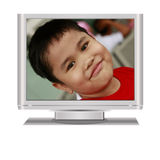 Boy in Lcd Television Royalty Free Stock Image