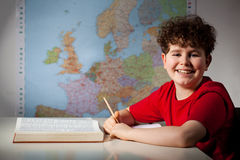 Boy learning stock photo
