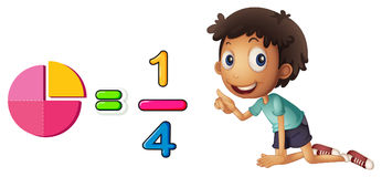 Boy learning fraction on white background. Illustration Stock Photos