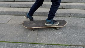 Boy learning hot to skate stock video