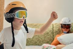 Boy learning skiing Royalty Free Stock Photos