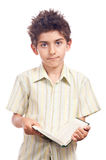 Boy learning unhappy expression Royalty Free Stock Image
