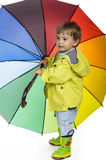 Boy learning weather  through playing Royalty Free Stock Images