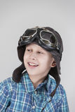 Boy with leather cap looking left Stock Image