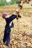 Boy with leaves Stock Photo