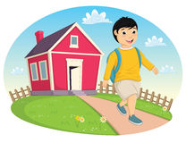 Boy Leaving Home Vector Illustration. 