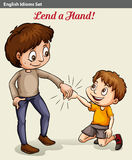 A boy lending his hand. A poster showing a boy lending his hand Stock Image