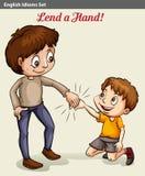 A boy lending his hand Stock Image